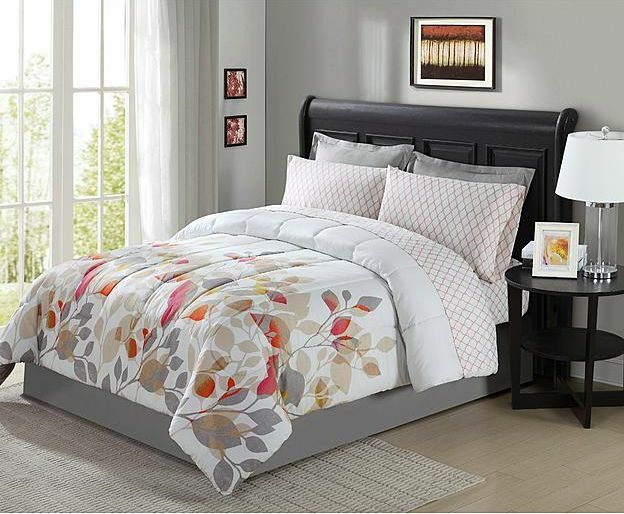 Brown Gray Rust Red White Floral 8 Piece Comforter Bedding Set Full Size Ebay