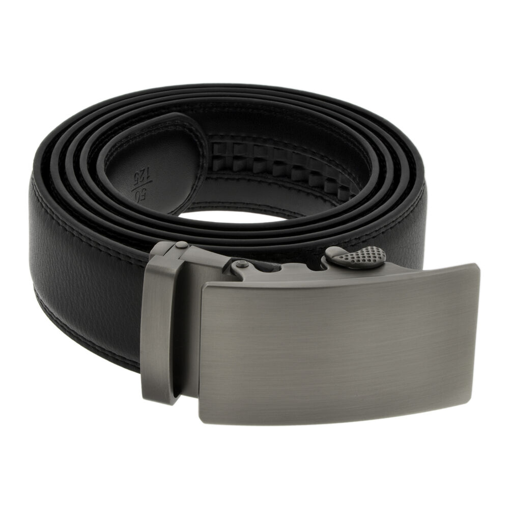 Classic Matte Brushed Silver Buckle Black Brown Leather