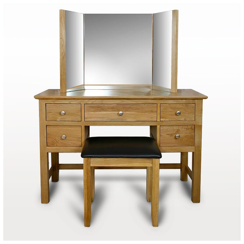 Solid oak dressing table light oak dressing table mirror for Dressing table with lights