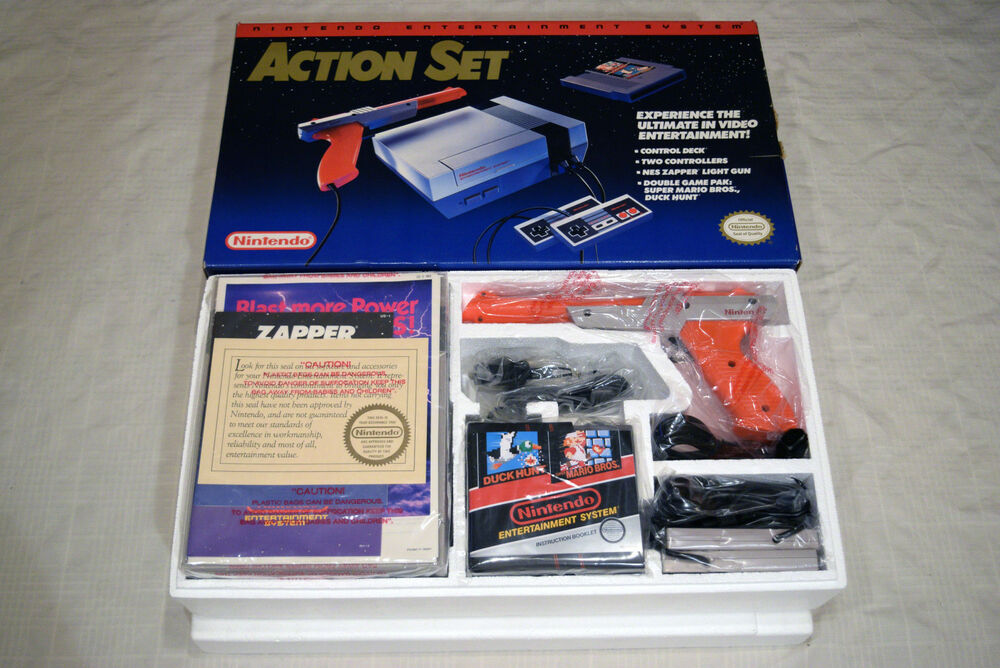 New Box Games : Nintendo nes console video game system action set new