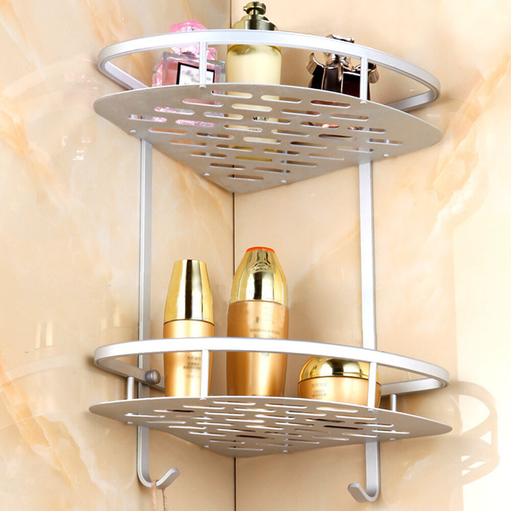 Corner shower caddy 2 shelf storage bathroom organizer - Bathroom glass corner shelves shower ...