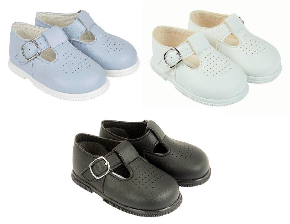 Baypods Baby Boys Hard Sole Tbar Shoes White Sky Blue