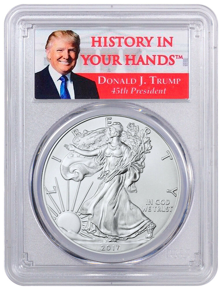 2017 American Silver Eagle Pcgs Ms70 First Strike Donald
