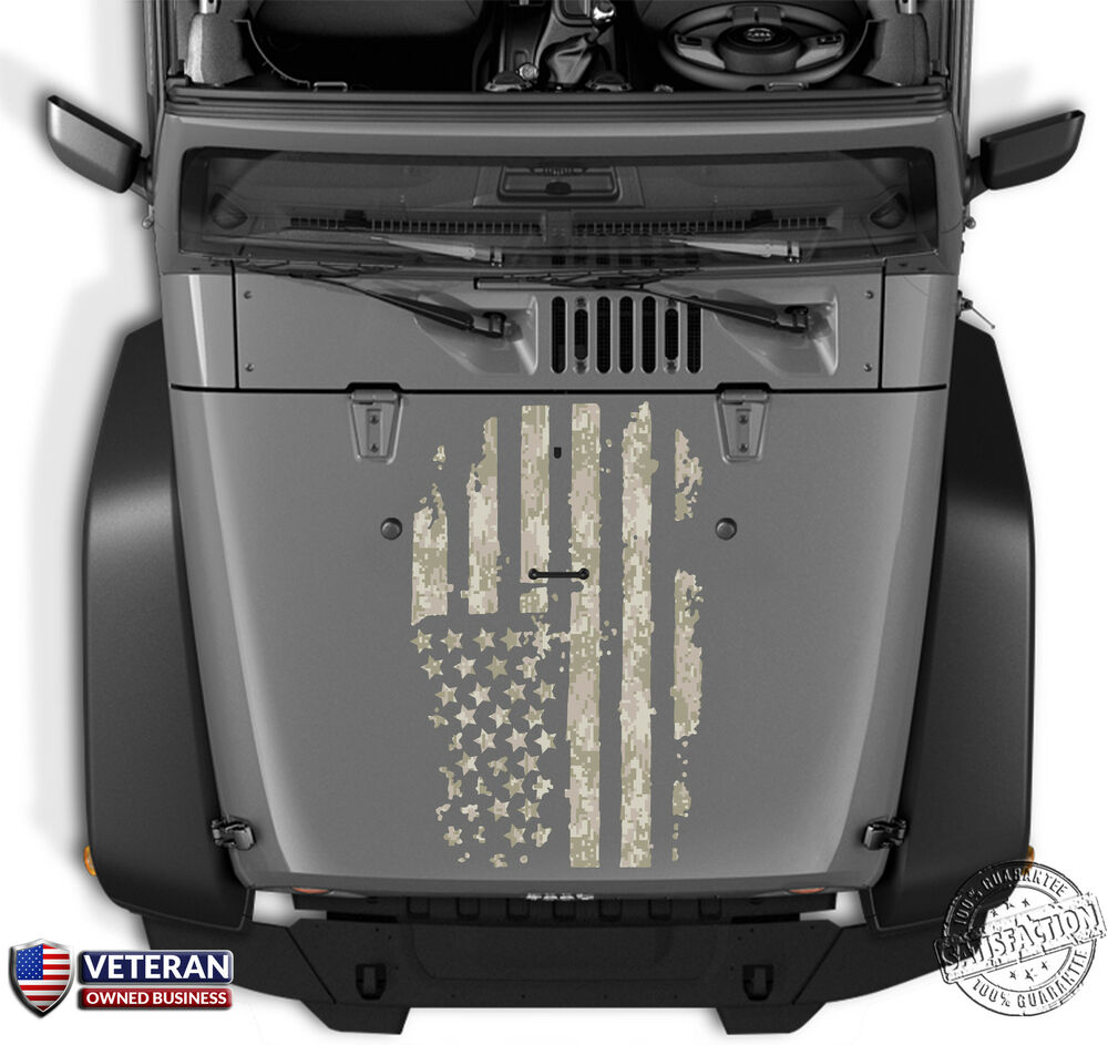 Distressed Digi Camo American Flag Hood Vinyl Decal Fits