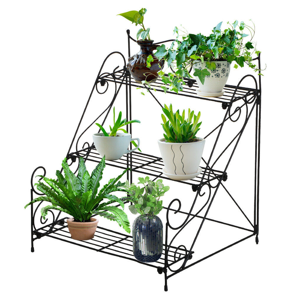 New 3 Tier Metal Garden Plant Pot Display Shelf Stand
