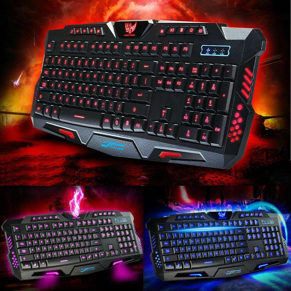 3 colors led backlight usb multimedia pc gaming keyboard for win 10 8 7 xp mac ebay. Black Bedroom Furniture Sets. Home Design Ideas