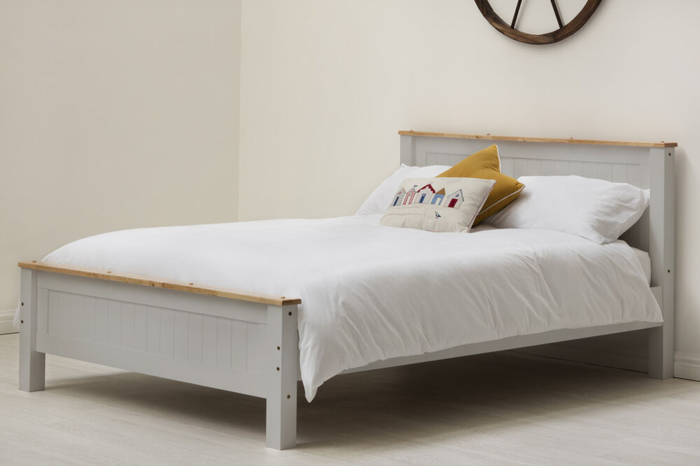 solid wooden oak top country bed frame single double king size white grey ebay. Black Bedroom Furniture Sets. Home Design Ideas