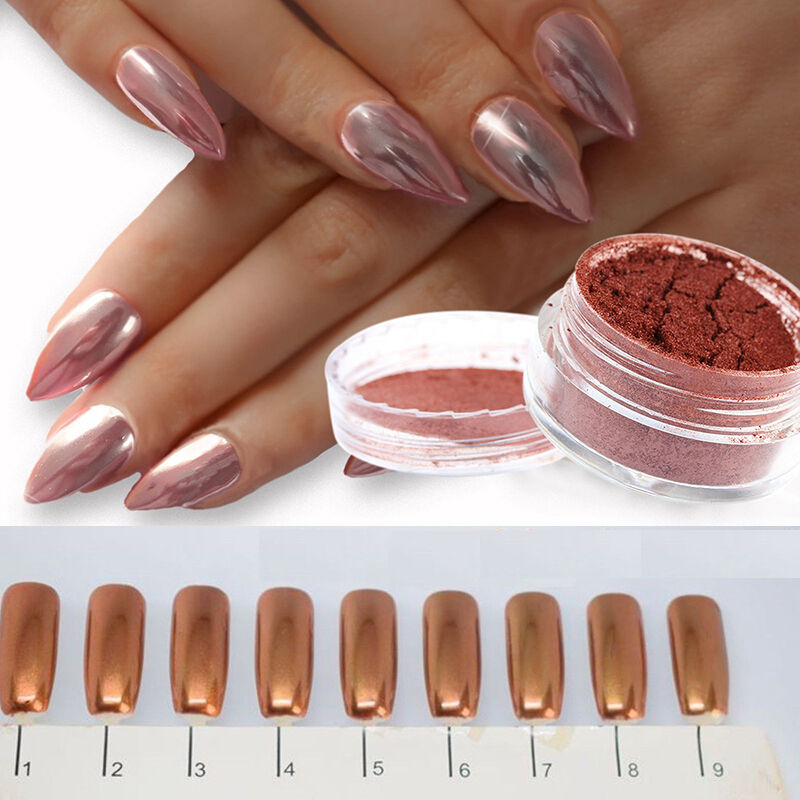 Chrome Nail Powder Cnd: ROSE GOLD CHROME POWDER MIRROR NAILS NO WIPE TOP COAT PINK