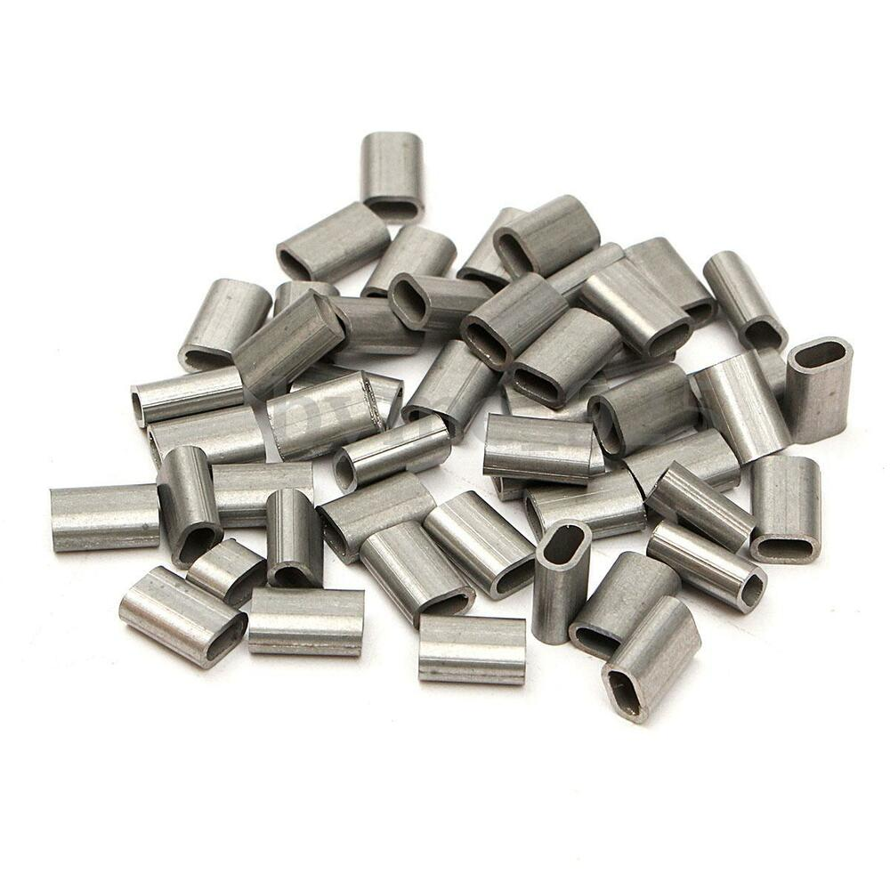Lot Of 50 Stainless Steel Cable Crimps Sleeve For 1 16
