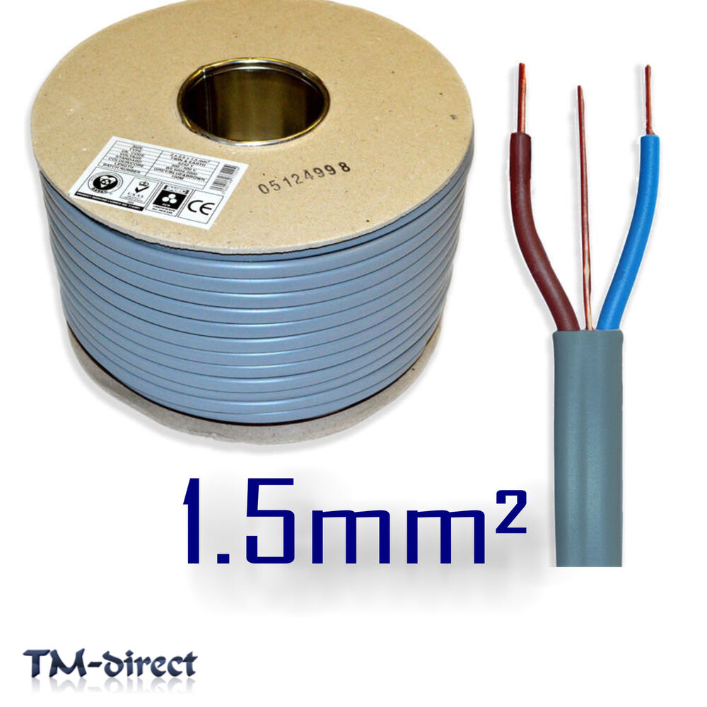 1.5mm sq 6242Y Grey 3 Core 2 and Earth Wire BASEC Certified Electric ...