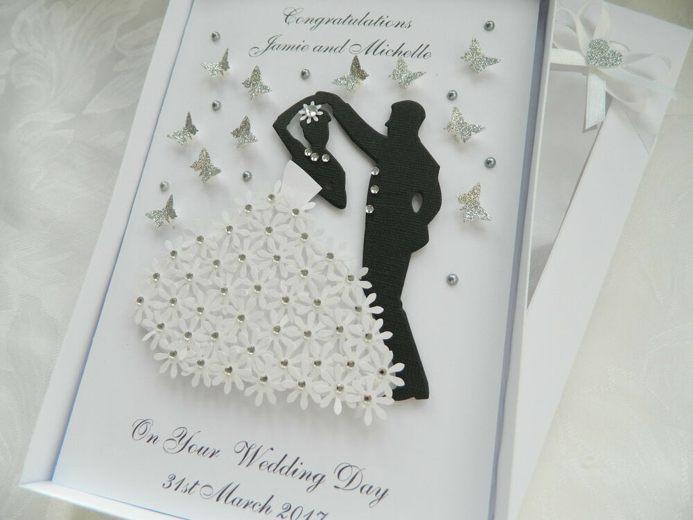 Handmade Personalised Card Wedding Day Anniversary Engagement Gift Box ...