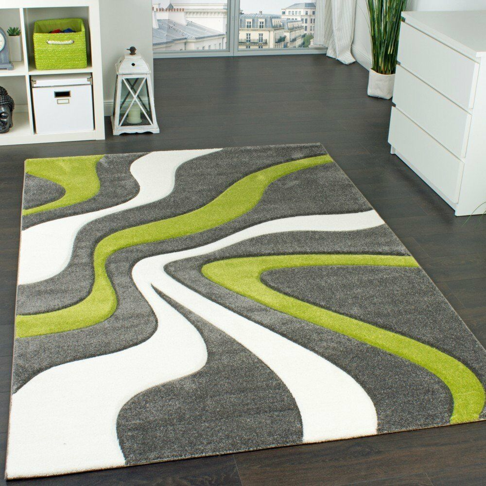Modern Abstract Rug Lime Green Grey White Thick Floor