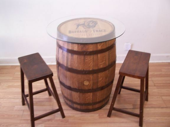 buffalo trace whiskey barrel table 30 glass top 2 24. Black Bedroom Furniture Sets. Home Design Ideas