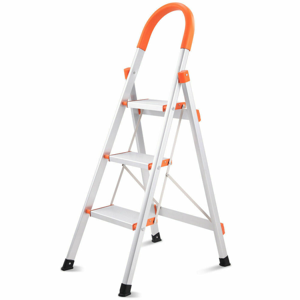 New Non Slip 3 Step Aluminum Ladder Folding Platform Stool