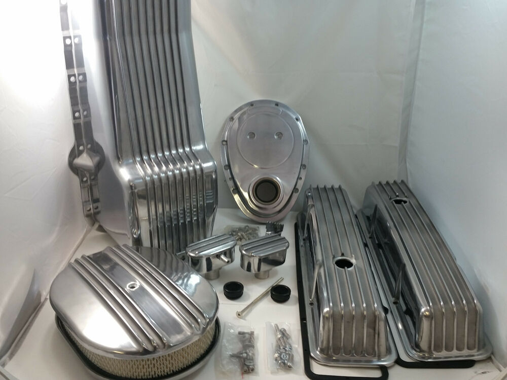 Polished Finned Sb Chevy Sbc Engine Dress Up Kit Tall 305