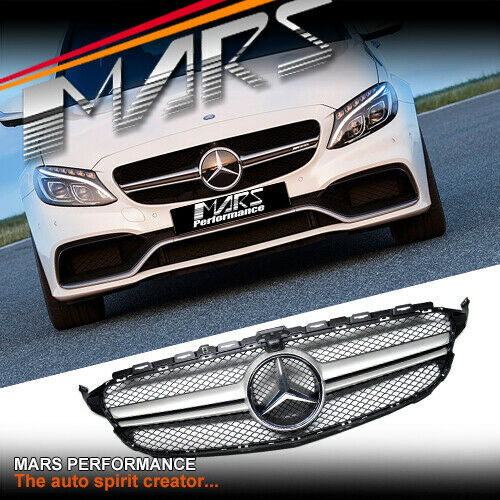 Silver black c63 style bumper grille grill for mercedes for Mercedes benz c300 grill