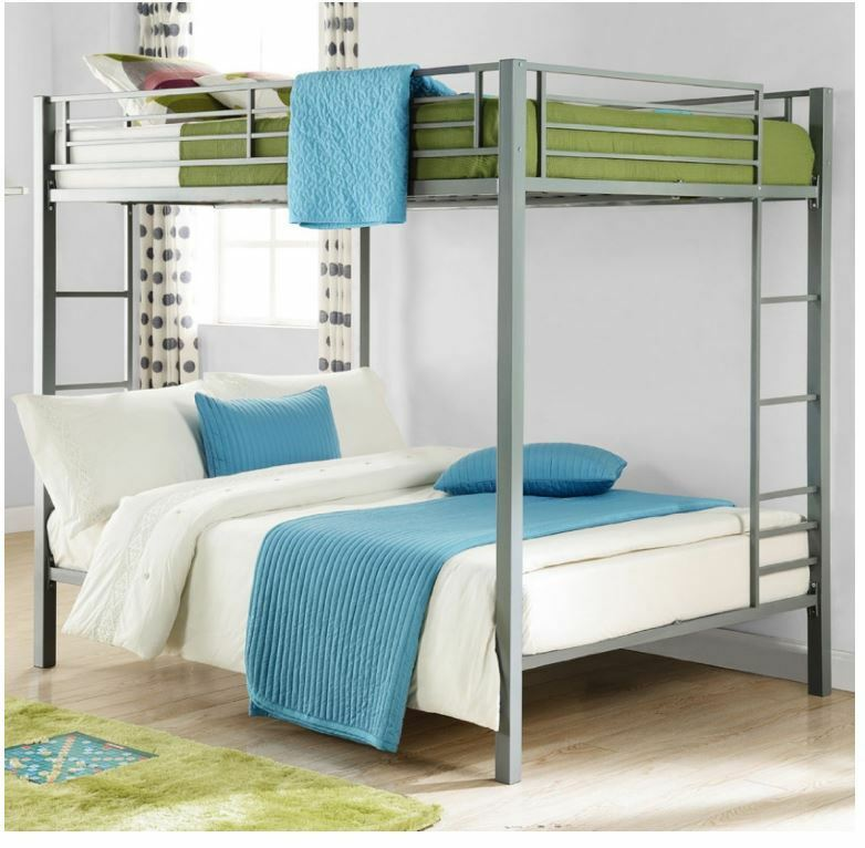 Bunk beds full over full size kids girls boys adults bedroom furniture loft bed ebay for Full size bedroom sets for adults