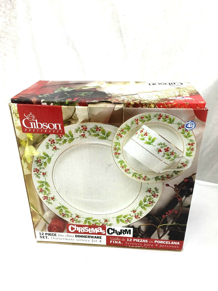 new gibson christmas charm 12 piece fine china dinnerware. Black Bedroom Furniture Sets. Home Design Ideas