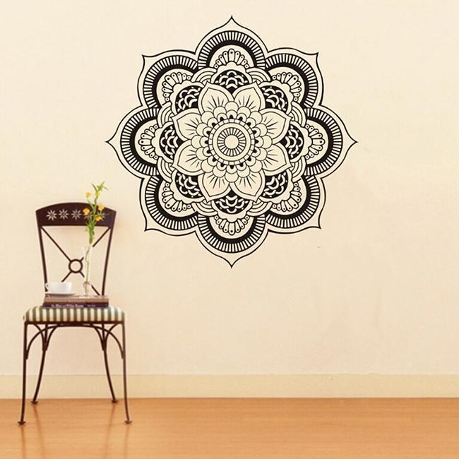 Mural mandala indian pattern yoga om sign wall sticker for Mural mandala