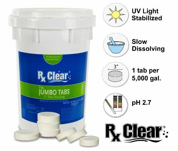 Rx Clear 3 Stabilized Swimming Pool Chlorine Tablets Various Sizes Ebay