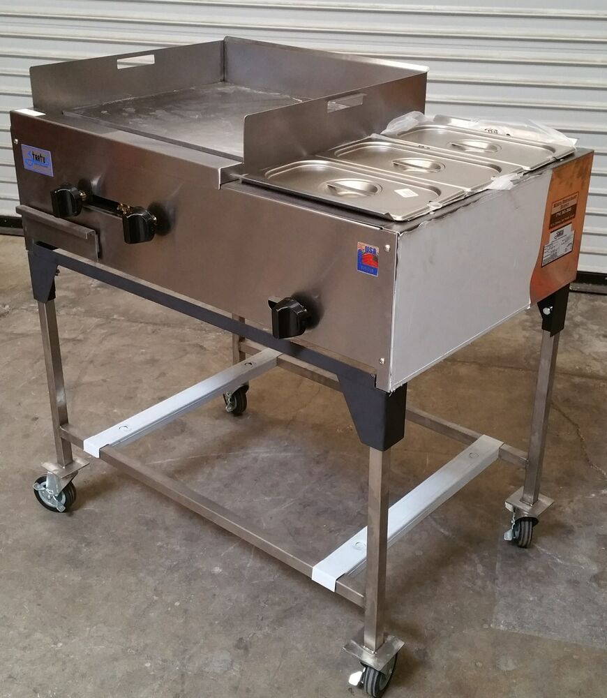 Gas Griddle Table ~ New quot taco cart griddle steam table on wheels propane