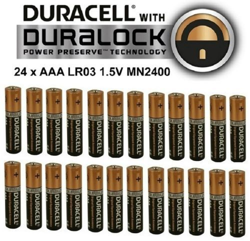 24 x duracell aaa alkaline lr03 1 5v batteries mn2400 duralock duracel battery ebay. Black Bedroom Furniture Sets. Home Design Ideas