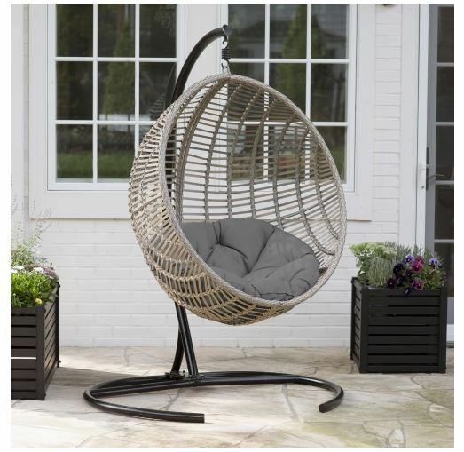 Details About Egg Chair Indoor Outdoor Wicker Hanging Patio Swing Cushion Hammock Stand