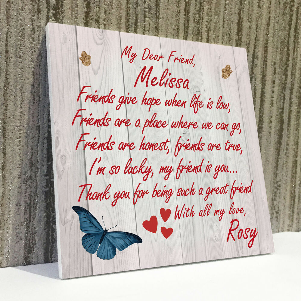 Details About Personalised Best Friend Friendship Plaque Sign Thank You Birthday Gift Present