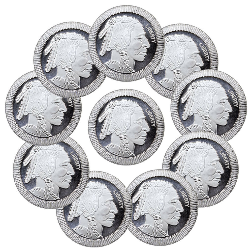 1 Oz Silver American Indian Buffalo Stacker Lot 10 Rounds