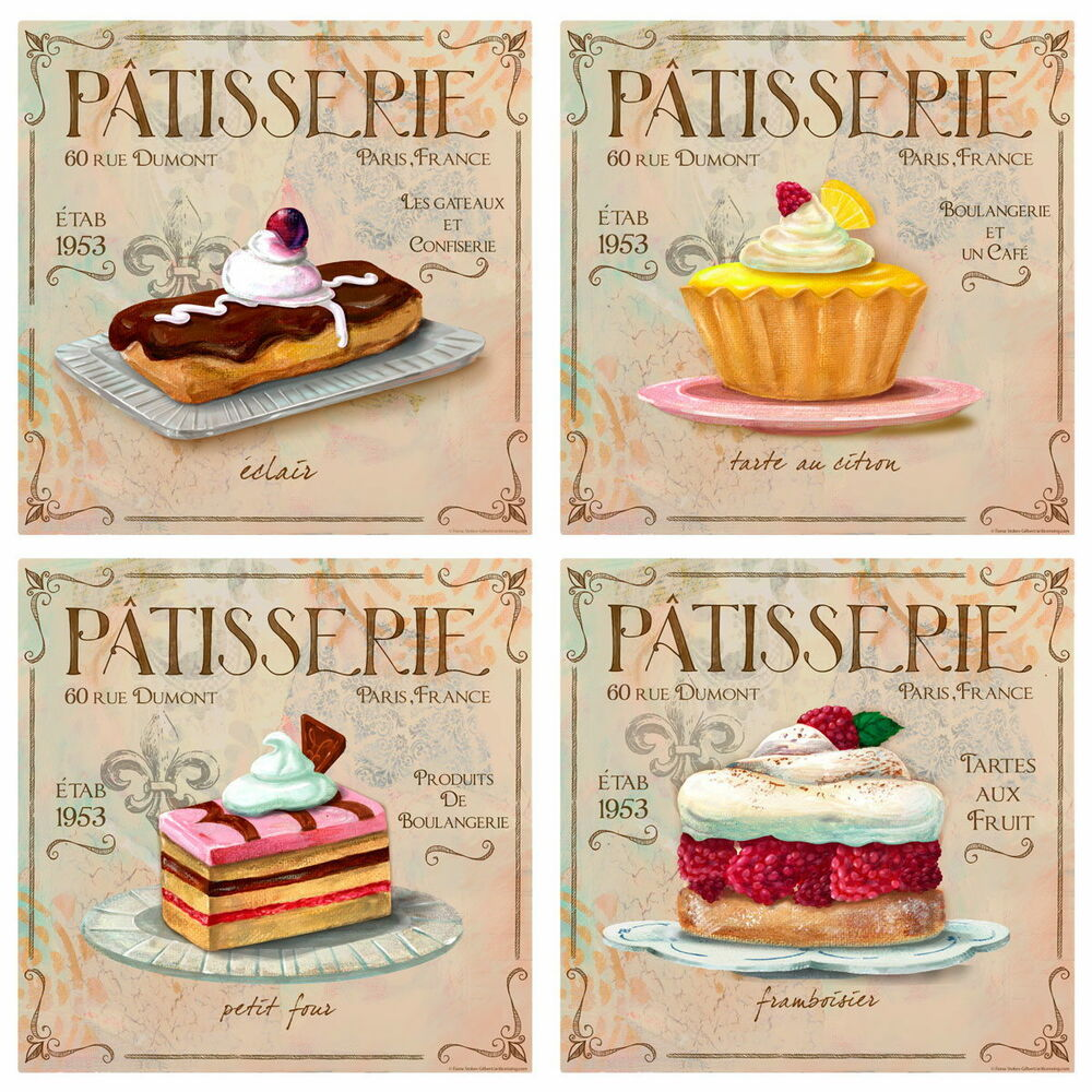 Patisserie french bakery wall decal set vintage style home for Vintage ocean decor