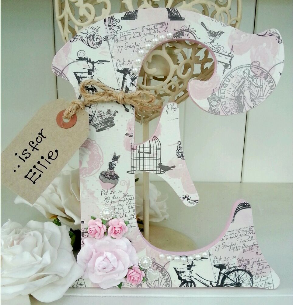 Shabby personalised girls vintage roses pearls wooden letter/name sign chic  eBay