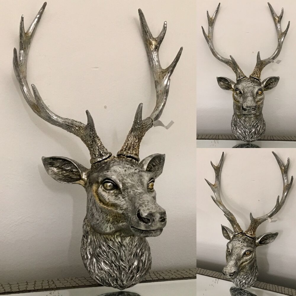 Antique silver stags head deer head wall mounted free postage ebay - Silver stag head wall mount ...