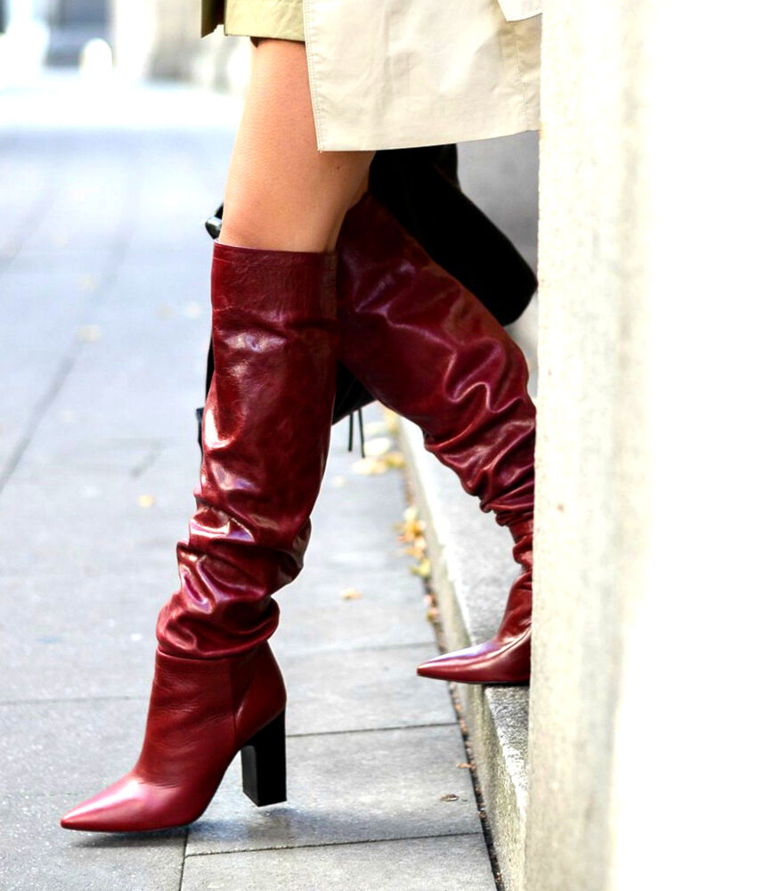 a91ebf8d27c Details about ZARA LEATHER HIGH HEEL POINTED OVER THE KNEE BOOTS WIDE LEG  SIZE UK 3 36