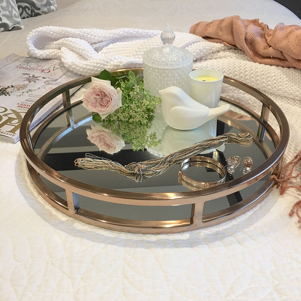 Rose Gold Mirrored Coffee Table: STUNNING Round Rose Gold Tray/Mirror/Coffee Table Tray