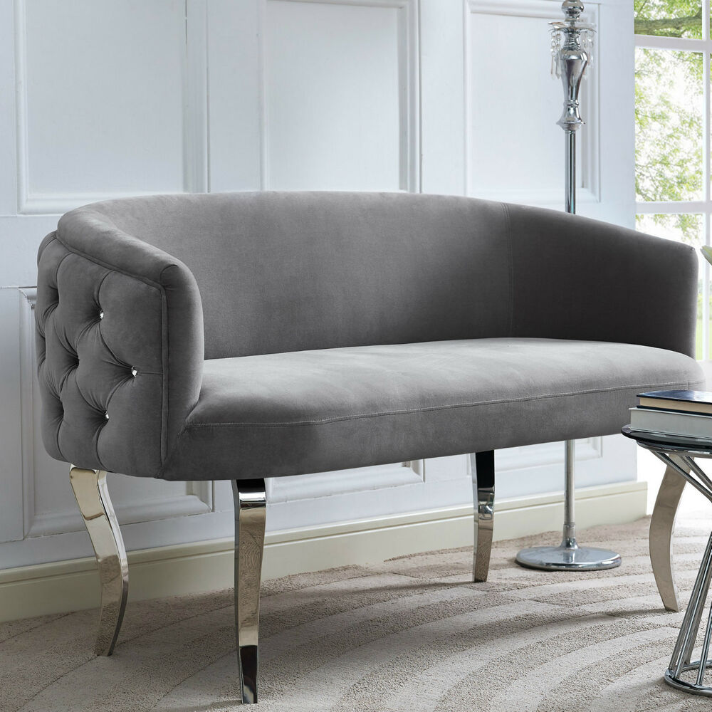 Horchow haute house style glam regency curved gray velvet sofa settee loveseat ebay Curved loveseat sofa