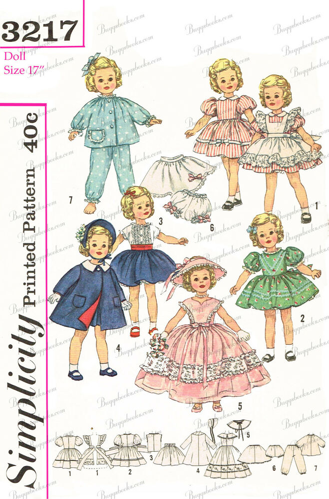 environ 43.18 cm Shirley Temple type Doll Clothes sewing pattern Simplicity 3217-17 in