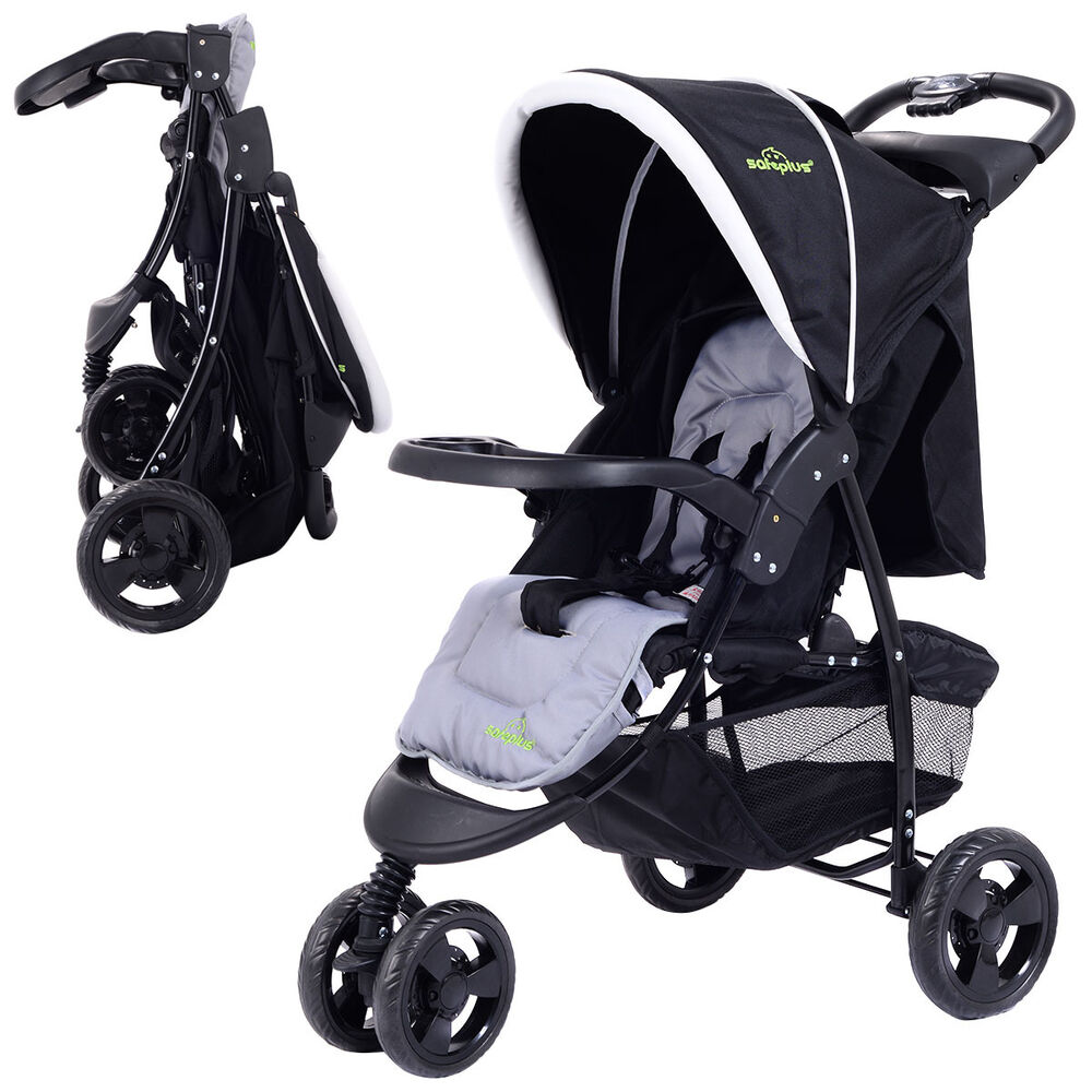 3 wheel foldable baby kids travel stroller pushchair buggy newborn infant black 695974455798 ebay. Black Bedroom Furniture Sets. Home Design Ideas