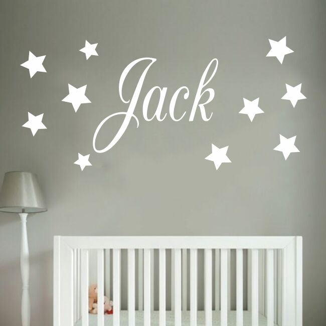 baby boys wall sticker - personalised stars child name bedroom