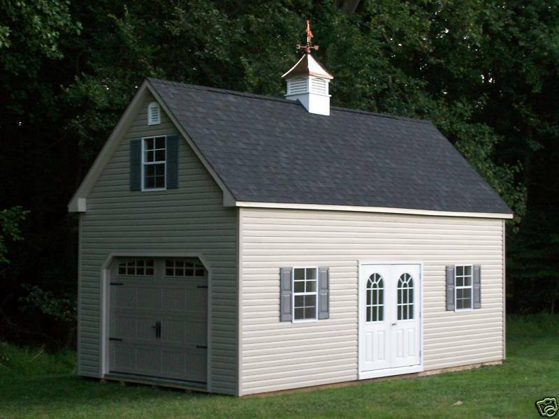 Amish 12x24 single car 2 story vinyl garage shed new ebay for Garage new s villejuif