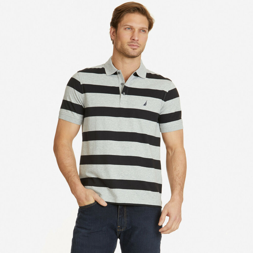 Nautica mens classic fit striped polo shirt ebay for Mens polo shirts online