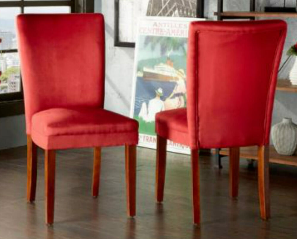 Red side chairs dining room set 2 upholstered armless for Red dining room chairs