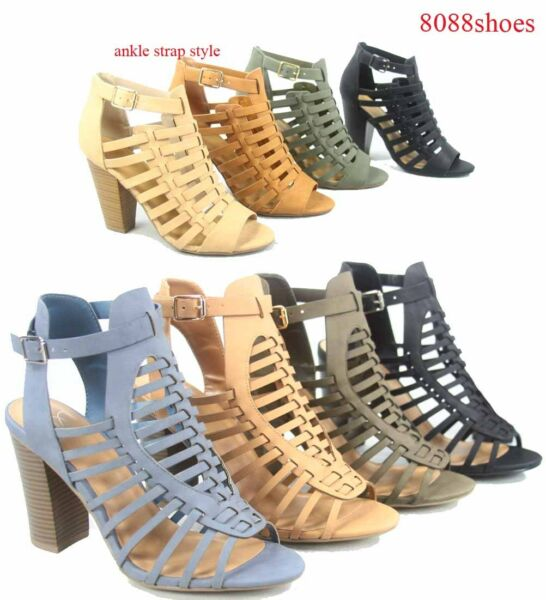 Women's Chunky Heel Strappy Ankle Strap Buckle Sandal Shoes Size 5.5 - 11 NEW