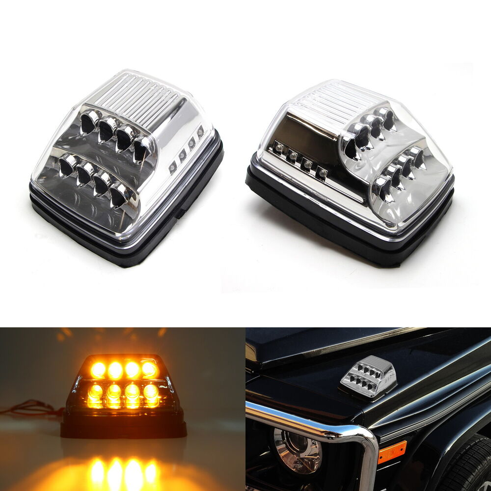 clear lens amber led turn signal lamps w white led for mercedes w463 g class ebay. Black Bedroom Furniture Sets. Home Design Ideas