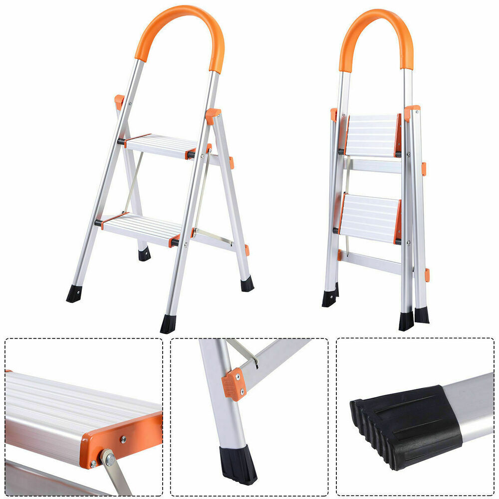 New Non Slip 2 Step Aluminum Ladder Folding Platform Stool