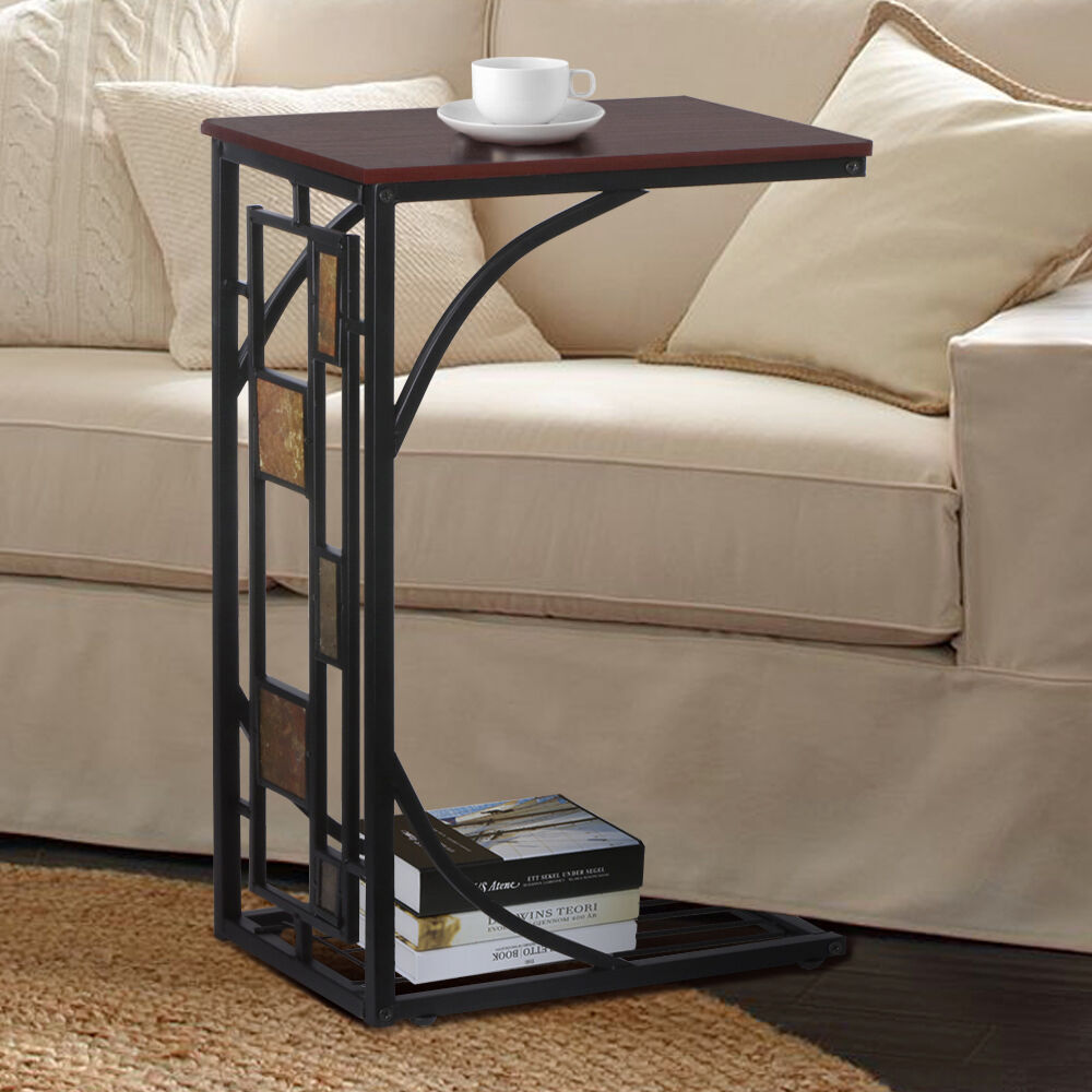 Square Black Wooden Ikea Side Table For Cozy Living Room Furniture Design: Modern Design Mobile Trolley Coffee Tea Table Sofa Side