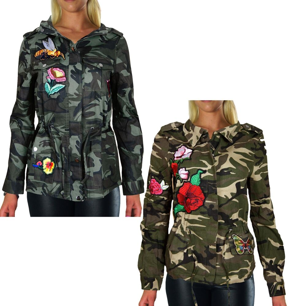 damen camouflage jacke mantel patches army bergangsjacke. Black Bedroom Furniture Sets. Home Design Ideas