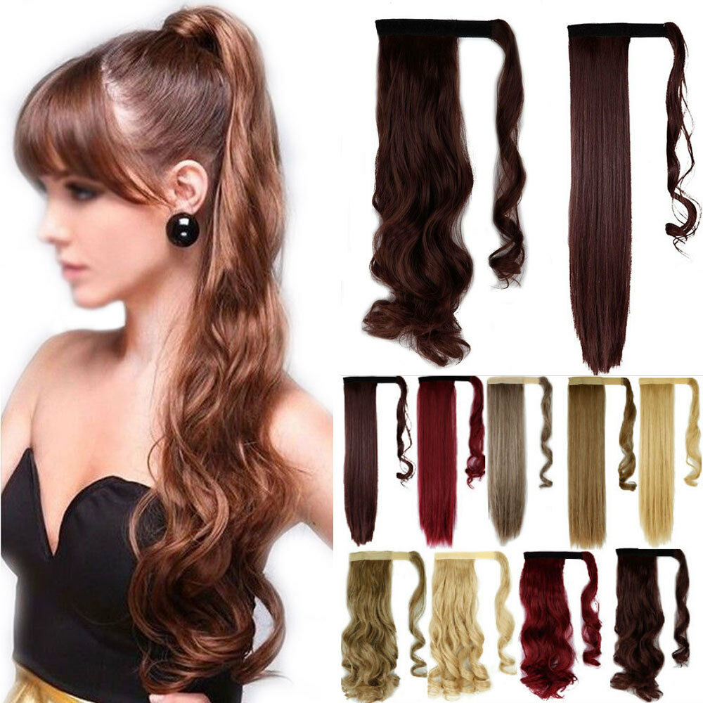 Clip In Ponytail Hair Extensions Straight Curly Wrap on
