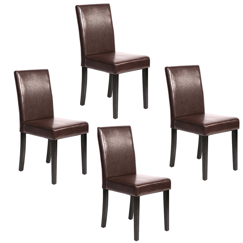 Of Set Chairs 4 Brownfoldingdining: Set Of 4 Brown Leather Contemporary Elegant Design Dining