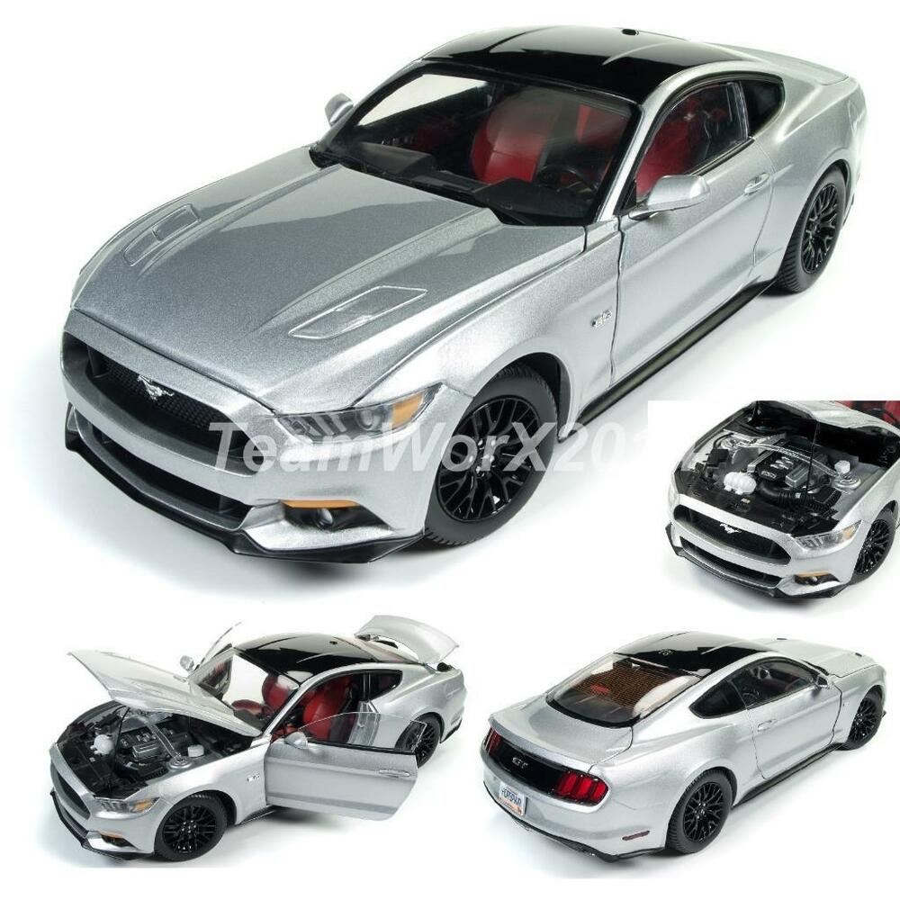 auto world aw237 ingot silver 2017 ford mustang gt diecast car 1 18 new ebay. Black Bedroom Furniture Sets. Home Design Ideas