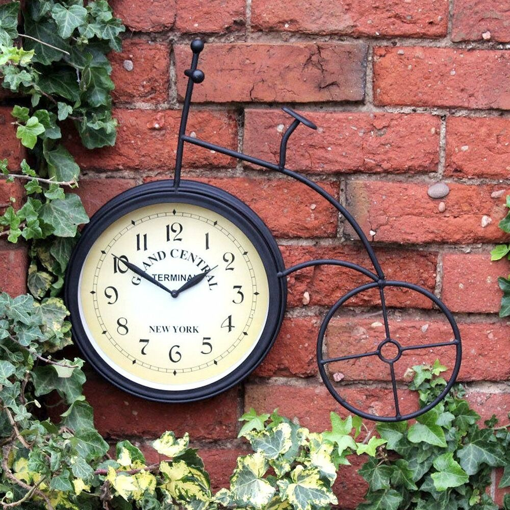 New york grande central bicycle ext rieur horloge murale d coration de jardin - Grande decoration murale ...